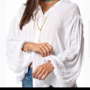 Free People sheer white button down NWT